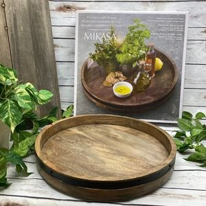 Rustic Charcuterie Wood Lazy Susan Cheese Board